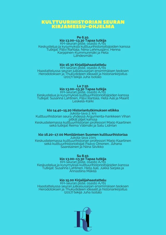 Kulttuurihistorian seuran Kirjamessu-ohjelma